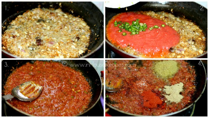 Add Tomato and spices in Soyabean curry