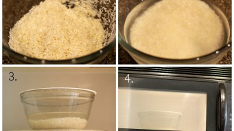 Add 2 cups of water for each cup of rice – cooking rice in microwave