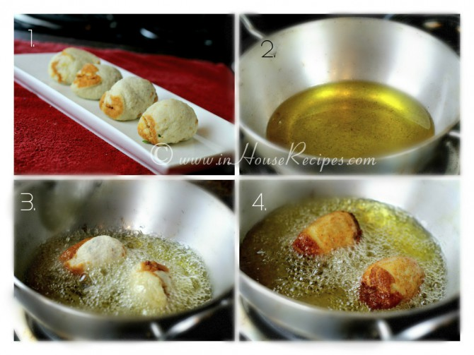 रोल को तले Deep frying aloo bread rolls