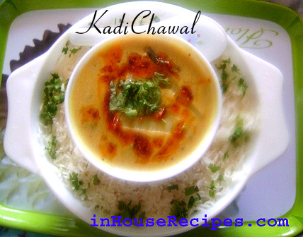 Serve kadi with chawal (White Rice)