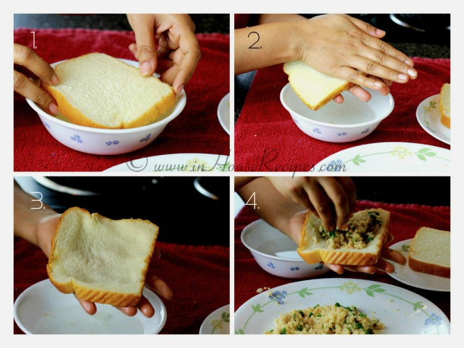 Moisten bread with water