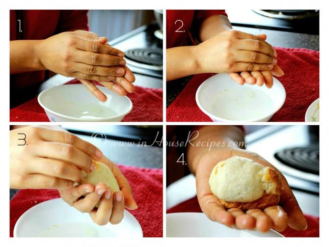 Roll bread slice to embed potato mixture inside bread slice