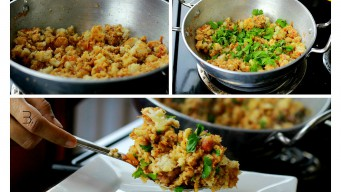 Garnish bread poha with coriander leaves