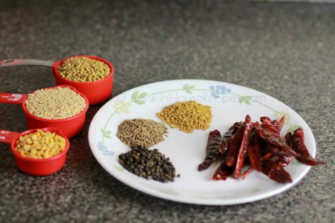 Ingredients for sambhar powder