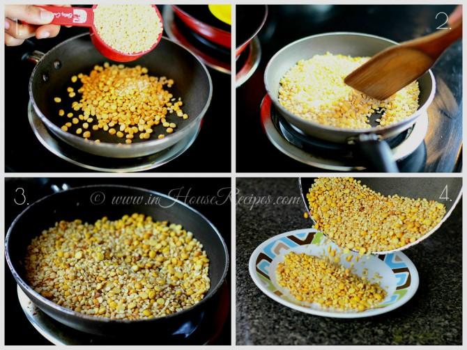 Roast lentils for Sambar powder