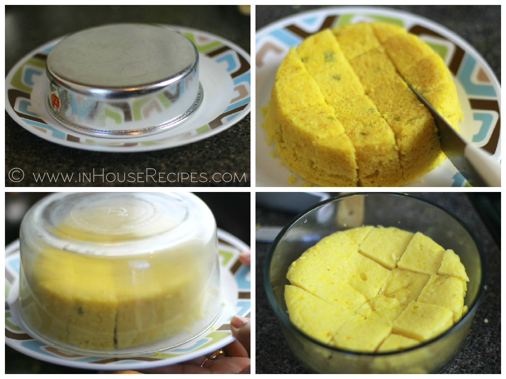 Dhokla recipe in cooker with besan video inhouserecipes take out dhokla from pan and slice into pieces forumfinder Choice Image