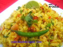Breakfast snack beaten rice poha