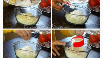 Adding Milk cornflour to paneer kofta