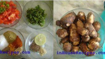 Ingredients for boiled Arbi masala