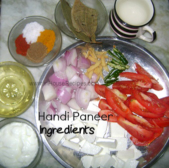 Ingredients for Handi paneer