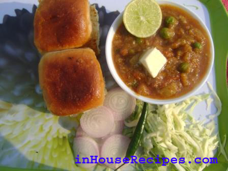 Masala Pav Bhaji Recipe With Salad