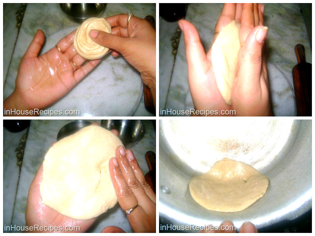 Stick paratha on cooker wall