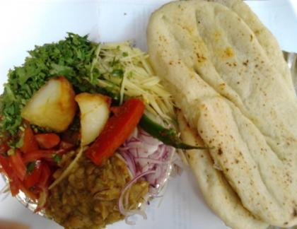 Chhole Kulche street food with Salad