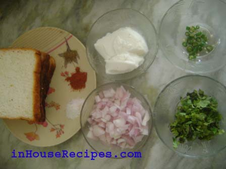 Ingredients for Dahi sandwich Toast