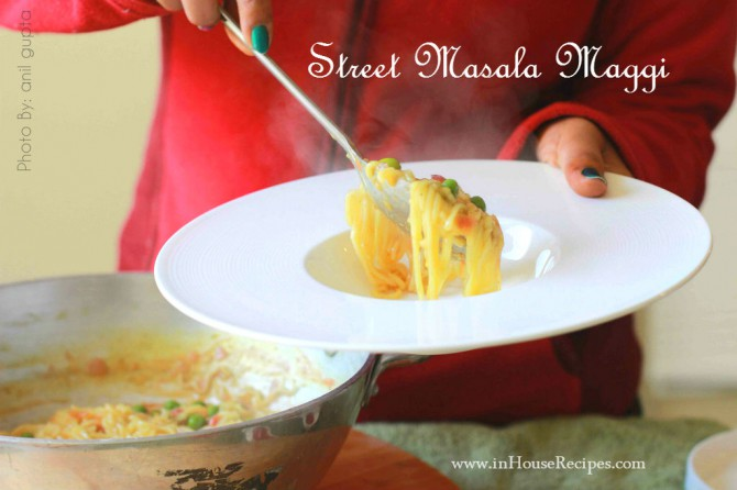 Serving hot masala maggi