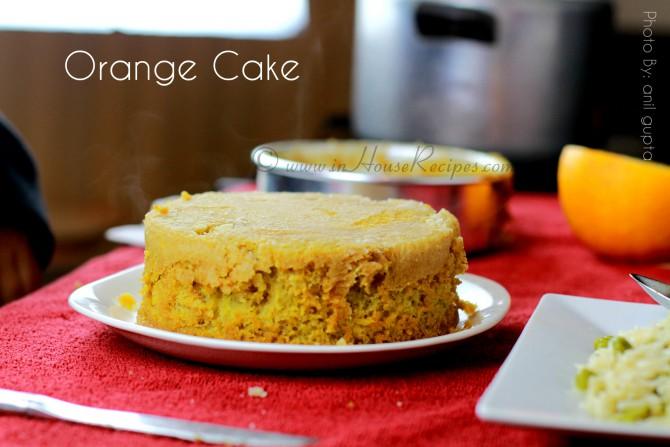 Orange cake baked in cooker at home