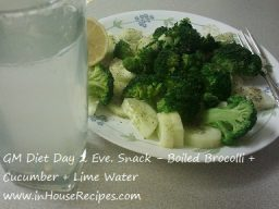 GM diet day 2 – Broccoli and Cucumber salad for evening snacks