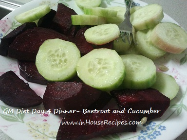 GM diet day 4 - Vegetarian dinner