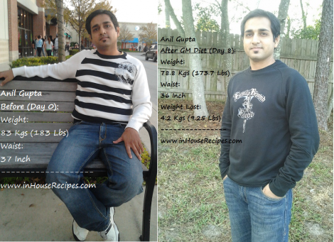 GM diet 7 days results - Before After - lost 4 kgs Water weight