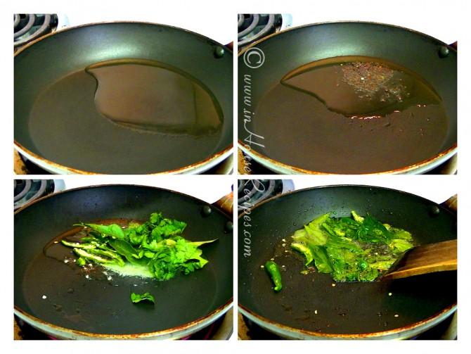 Making tadka or seasoning for dhokla