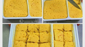 Slicing Dhokla into square pieces