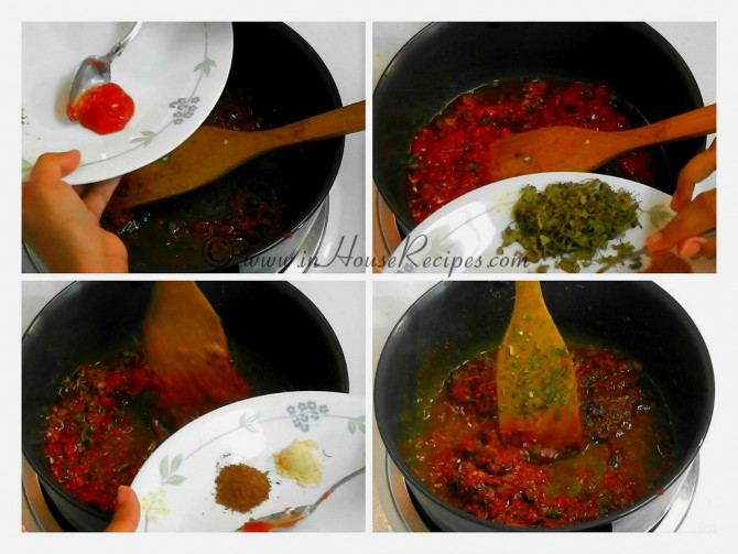 Add tomato sauce, spices, methi to gravy
