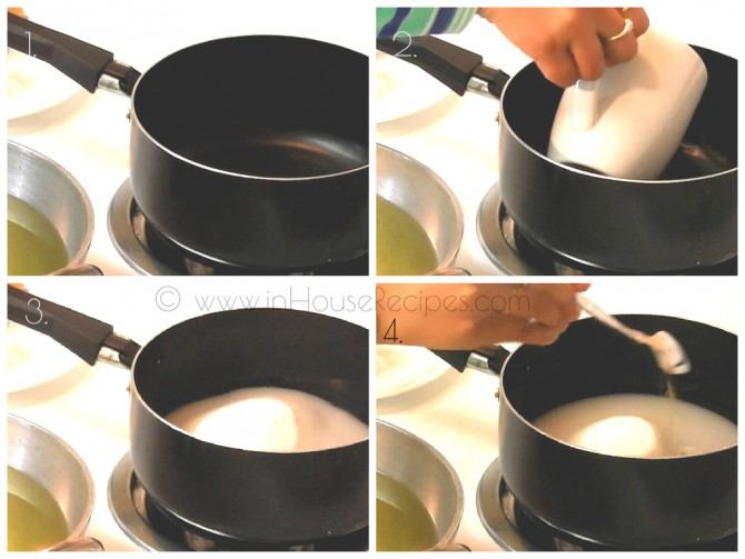 Add water, sugar and boil for sugar syrup