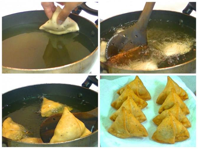 Frying aloo Samosa