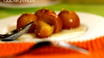 Gulab Jamun split into pieces