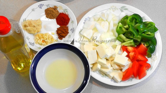 Ingredients for paneer marination