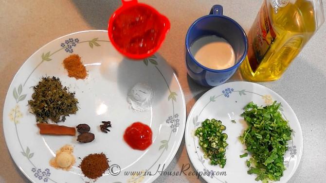 Ingredients for paneer tikka masala gravy