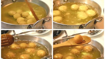 Keep stirring Gulab jamun to have even color