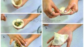 Filling aloo mixture in samosa cone