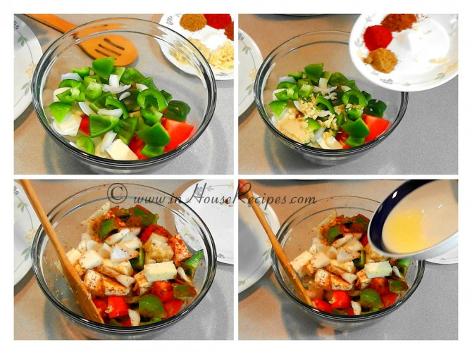 Mixing vegetables for paneer tikka marination