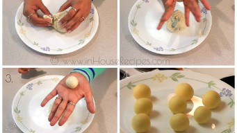 Roll small raw balls for Gulab Jamun