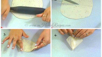 Rolling Samosa dough and cutting cones