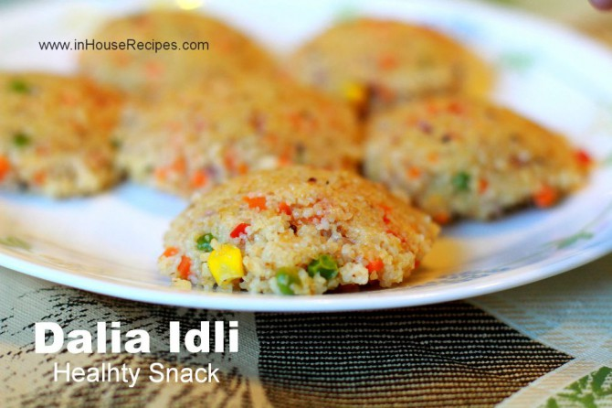 making dalia idli with wheat