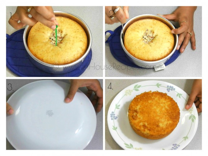 Test the cake's readiness with tooth pick