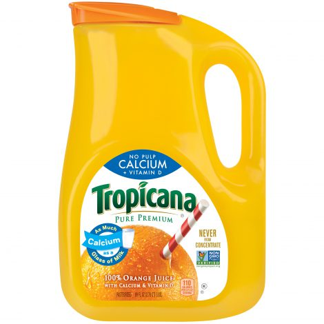 Orange juice marked Never-from-concentrate
