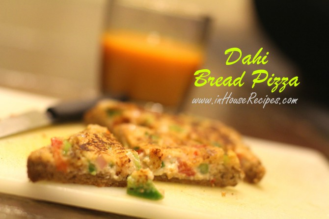 Desi Bread pizza made at home using plain bread slices and Dahi paste