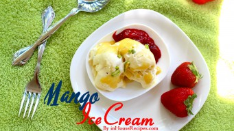 Mango ice cream with Strawberries