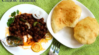 Could not resist a bite while capturing chole bhature
