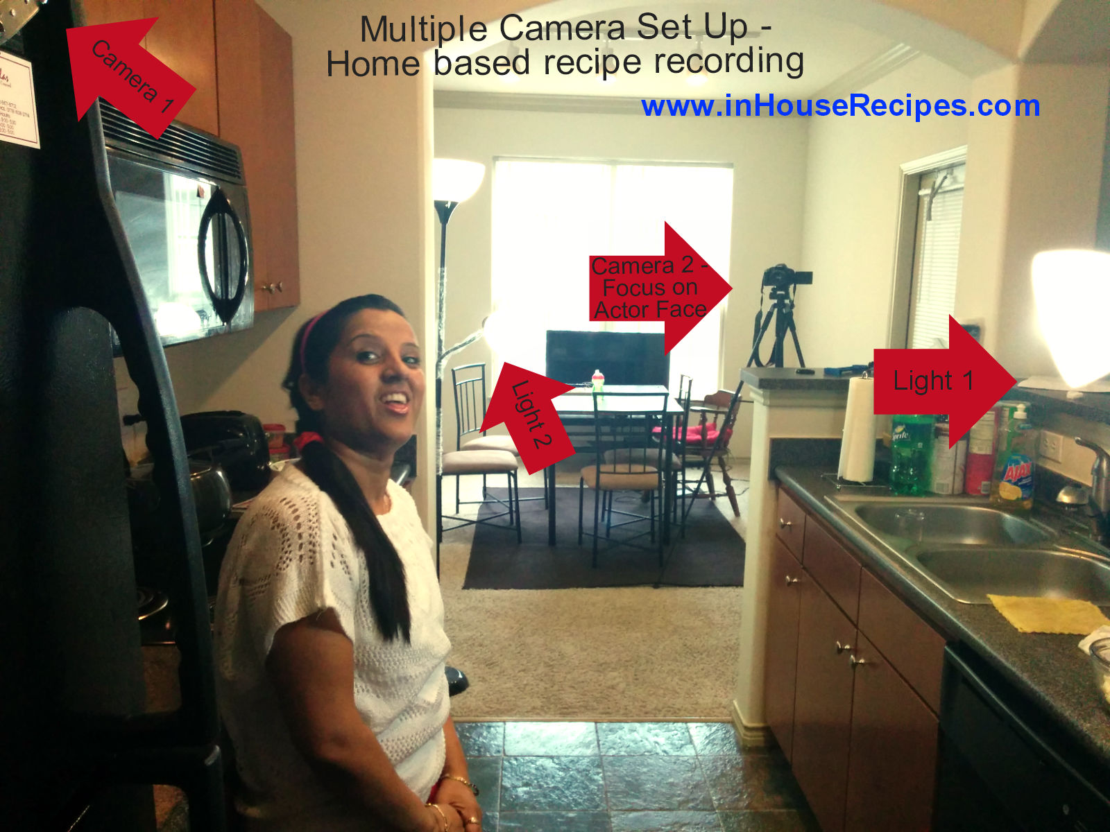 Camera-2 placement for multiple camera home based recipe recording