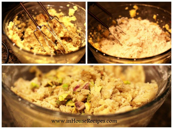 Mix ingredients with butter for pistachio cookie
