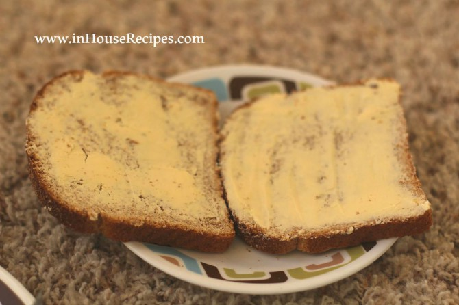 Vegetable sandwich butter the bread