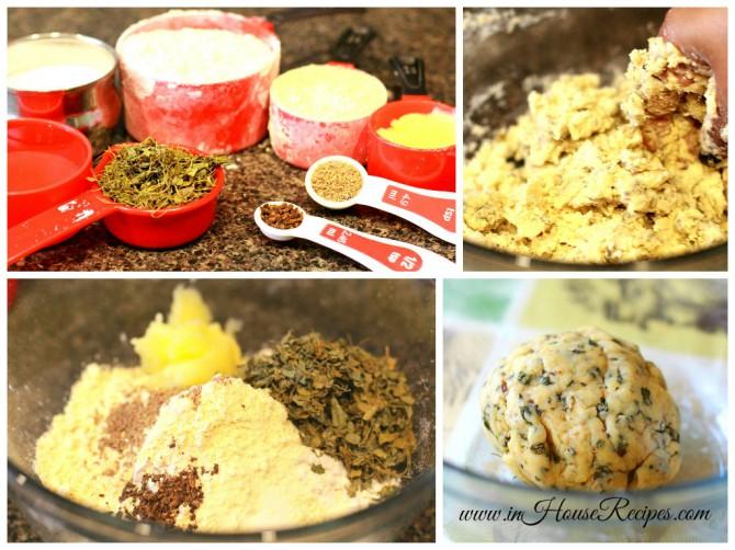 prepare methi mathri dough