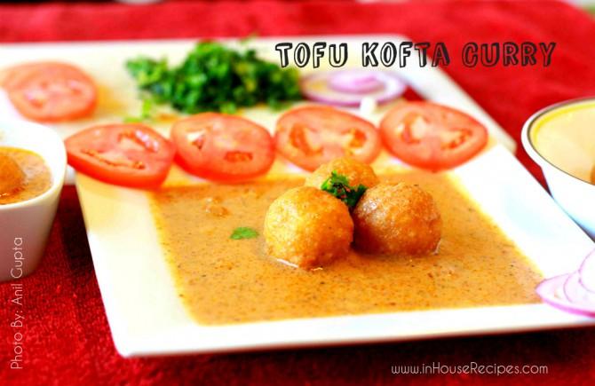 Tofu kofta curry – serving with salad