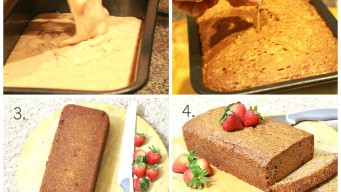 Preparing the baking pan and using the toothpick test – strawberry bread cake