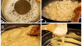Add Cashew powder to the Kaju Barfi paste