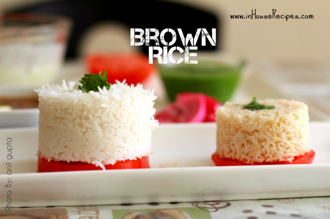 Contrast White rice with brown rice